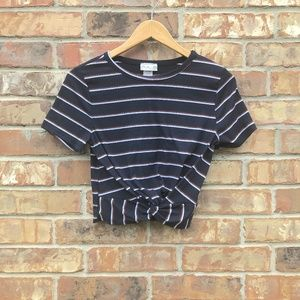 Tops - Stripped Navy and Orange/White Crop Top Size S